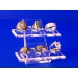 Expositor de anillos 2 bases para 6 anillos individuales de metracrilato.